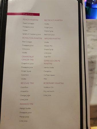 Cap Estate, Σάντα Λουσία: Martini bar menu part 2