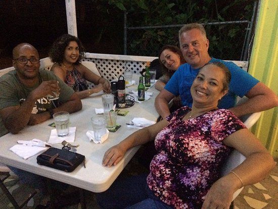 Rockley, Barbados: My friends and I at our table.