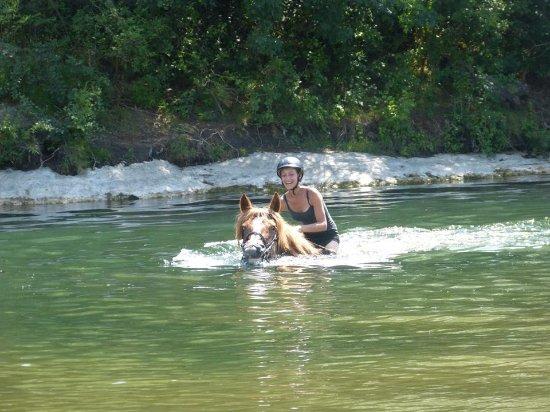 Collias, France : Nager avec le cheval