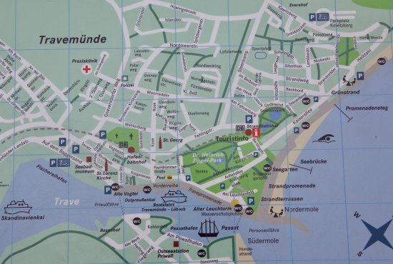 Priwall Karte.Stadtplan Von Travemunde Picture Of Travemunde Lubeck