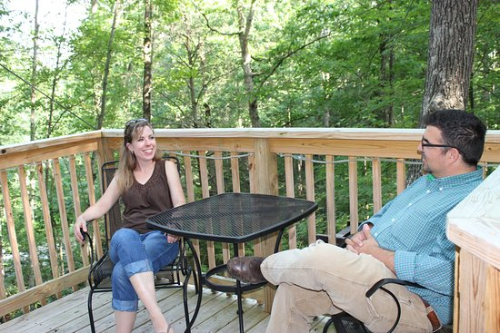 Hico, WV: enjoying the relaxing deck of the Holly Rock Treehouse cabin