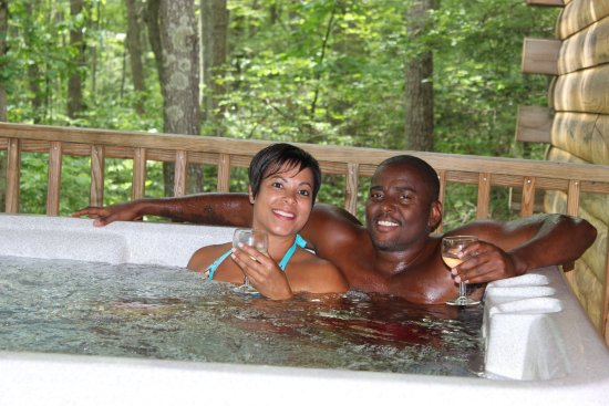 Hico, WV: The private hot tub is a great way to relax