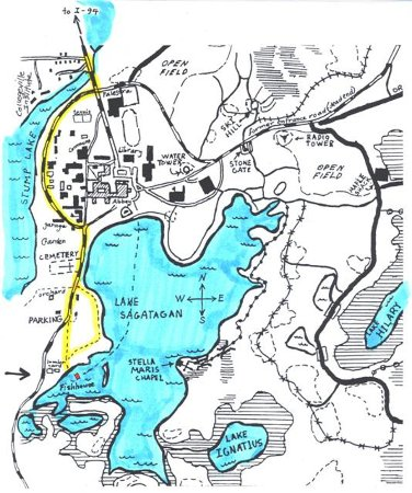 Collegeville, MN: Trail map of Lake Sagatagan by PJ osb.