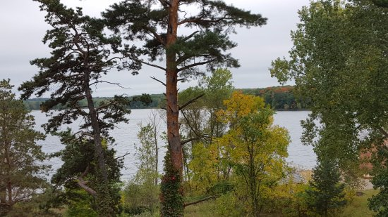 Collegeville, MN: Lake Sagatagan, autumn colors, and start of lakeshore trail to Stella Maris Chapel.
