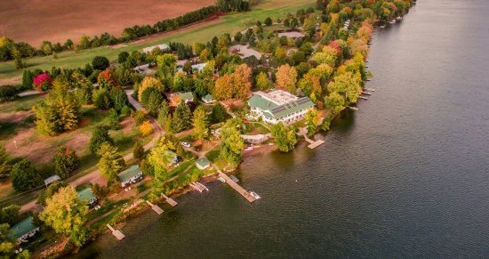 Aerial view of Elmhirst's Resort in Fall