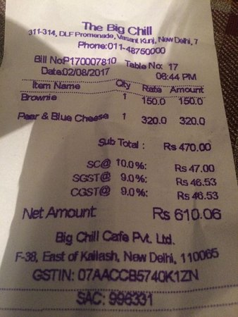 A Portion Of The Menu Card Picture Of Big Chill New Delhi Tripadvisor