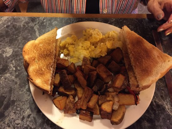 Eureka, NV: Scrambled eggs toast and home fries