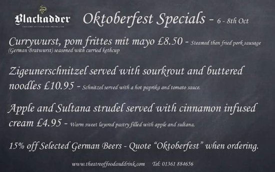 Greenlaw, UK: Why not book a table with and celebrate Oktoberfest with us. Enjoy authentic mouthwatering Germa