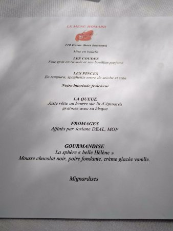 Le Saule Pleureur: Menu homard