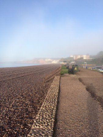 Budleigh Salterton, UK: Mist beginning to clear over Budleigh.