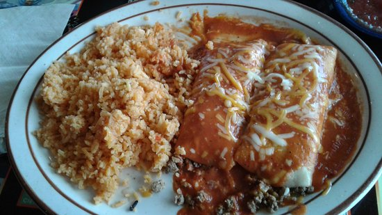 Mannford, OK: Beef Enchiladas with double rice, yum!