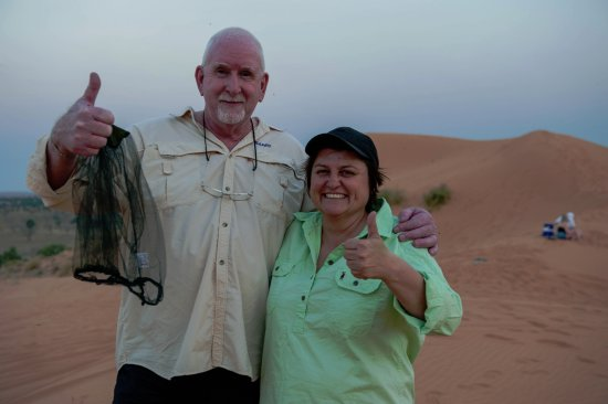 Birdsville, Australia: Kylie with my very happy hubby.