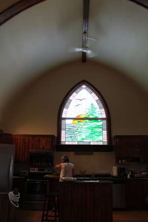 Cupids, Canada: stained glass window in kitchen