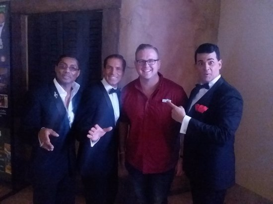 The Rat Pack is Back: My son and the pack. They actually took the time to shake hands and chat after the show.