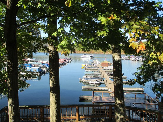 Entriken, PA: View of Raystown Lake from the outside tables of the restaurant