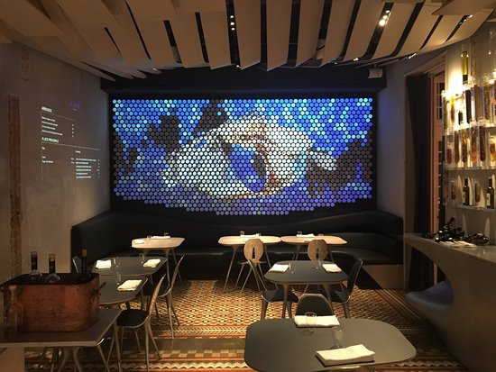 Restaurant with projection on wall decoration - Picture of Alkimia ...