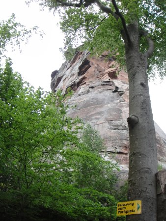 """Annweiler am Trifels, Germany: The front section of the rock formation the castle is built on. The """"bow of a ship""""."""
