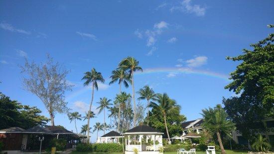 Holetown, Μπαρμπάντος: Rainbow over garden area