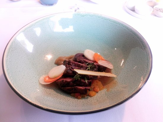 Ruiselede, Belgium: Wild duck, pear, pickled pear, candied leek and assorted root vegetables