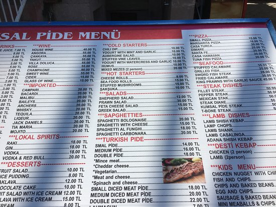 Kumsal Pide : There current menu