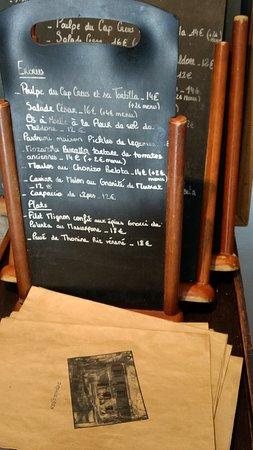 La Main a la Pate : le tableau de menu