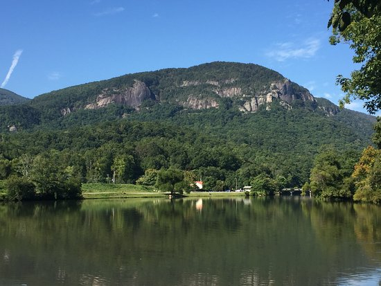 Pine Gables Cabins: lake lure and chimney rock in background