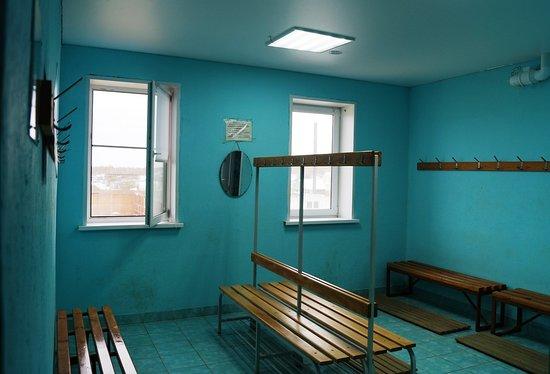 Karabash, Rosja: Мужская раздевалка. То же самое, что и в женской, только синенькая.