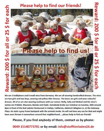 Vallejo, Kalifornien: Unsere geklauten Stofftiere