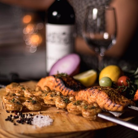 Avenida Brazil Churrascaria Steakhouse: Salmon and shrimp  grilled with Brazilian Heritage in our local steakhouse in Clear Lake / Webst