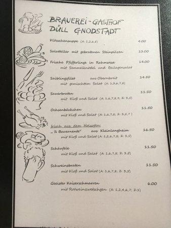 Marktbreit, Germany: die Speisekarte