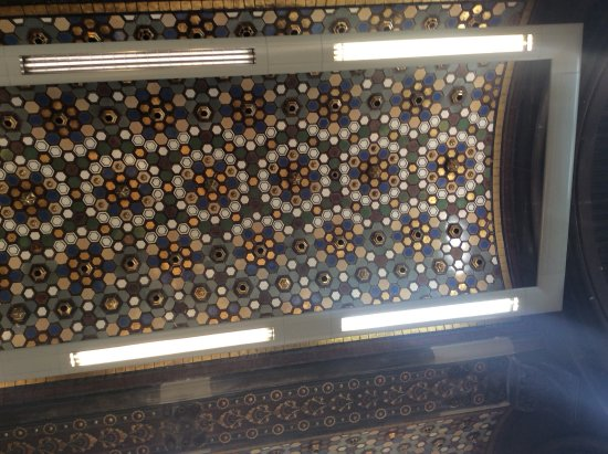 The Tiled Hall at Leeds Art Gallery: A detailed pattern of tiles