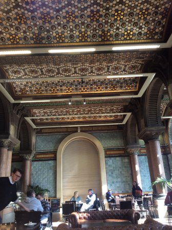 The Tiled Hall at Leeds Art Gallery: The vaulted tiled ceiling.