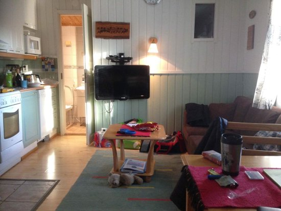 Levilehto Apartments: Liten stue og kjøkken