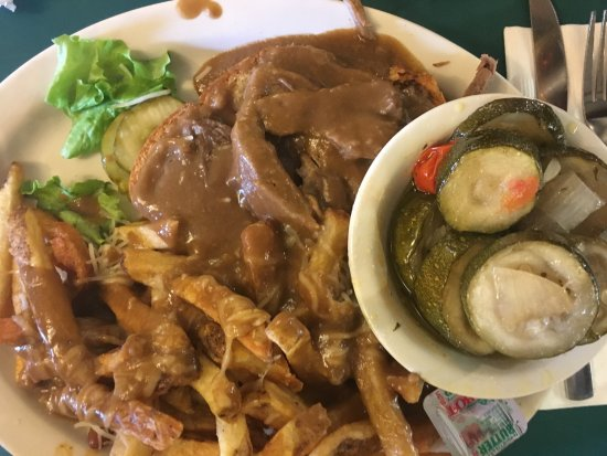 Lyndonville, VT: Pot roast and fries with gravy, and Italian zucchini.
