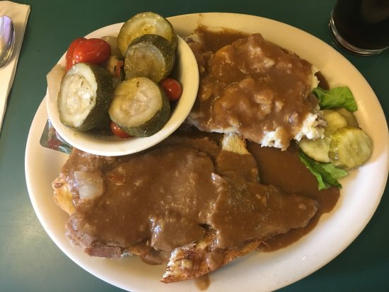 Lyndonville, VT: Pot roast and mashed potatoes with gravy, and Italian zucchini.