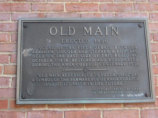 Galesburg, IL: Plaque on Old Main, Knox College
