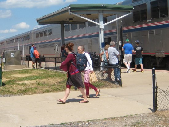 Galesburg RR Museum is adjacent to the modern Amtrak stop