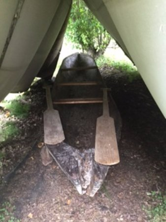 Huble Homestead Historic Site: Hand made aboriginal dug out canoe. Carving tools were made by the black smith on site.