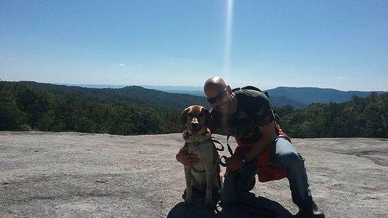 Roaring Gap, NC: Me and my dog at the summit