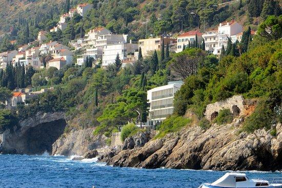 Villa Dubrovnik: View of hotel from St. Jakob's public beach