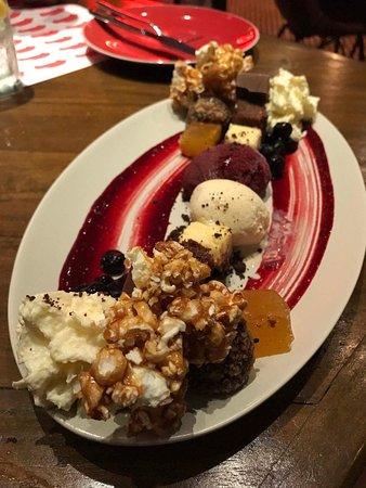 Dessert popcorn, brownies, and Ice cream. Yummy