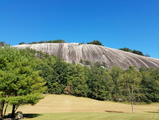Stone Mountain State Park : A view of Stone Mountain from the Stone Mountain Loop Trail near the homestead