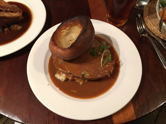 Blue Ball Restaurant : Top Side of Beef with a Blue Cheese Sauce and Yorkshire Pudding