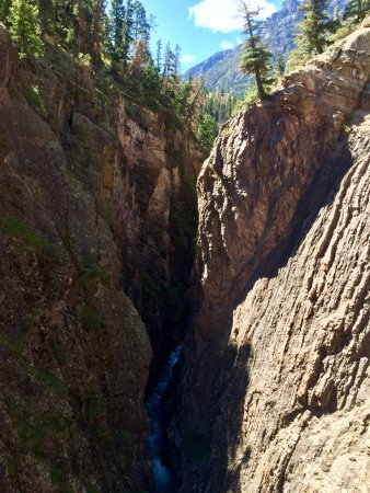 Ouray Box Canyon Waterfall: The rocks are 2 billion years