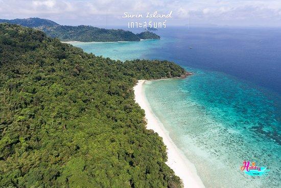 Khuraburi, Thailand: Bird-eye-view from drone of Surin Island .#surinisland #holidayvisiontour