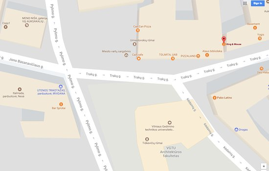 Location map for King Mouse Whisky Bar Shop Vilnius