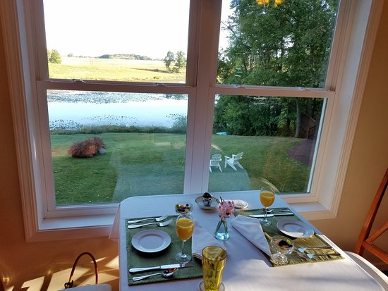 Allegan, MI: Breakfast room overlooking pond