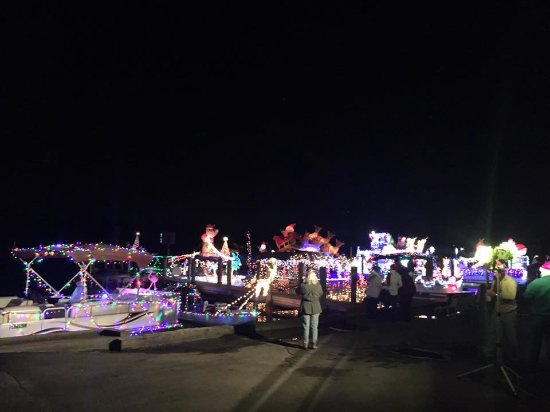 The annual Homosassa Christmas Boat Parade ends at the marina for all the boats to be judged