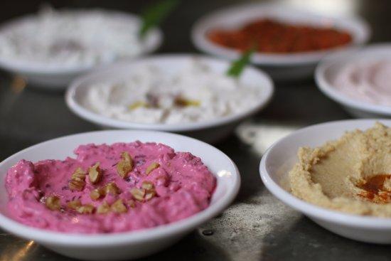 Epping, UK: Freshly prepared Mediterranean Meze plates