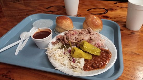 Bridgeport, TX: 3 meat dinner plate with 2 sides only $10.00